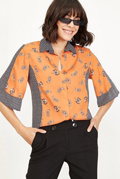 Lafaba Kadın Kiremit Desenli Gömlek