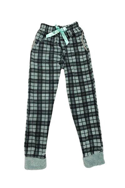 OMODAM Kadın Puanlı Tek Alt Peluş Polar Çepli Pijama