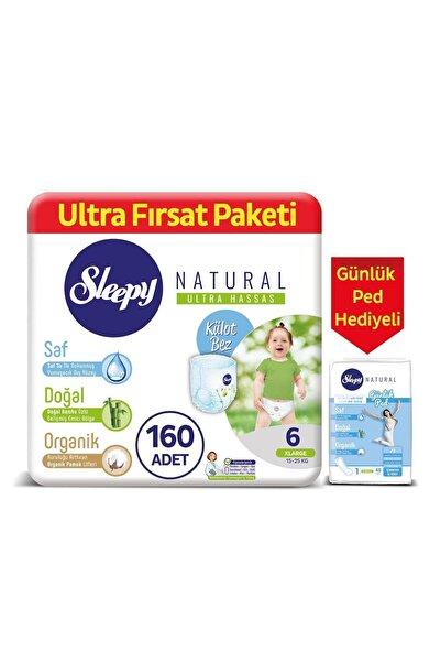 Sleepy Natural Külot Bez 6 Numara Xlarge 160 Adet + Natural Günlük Ped Normal 40 Adet
