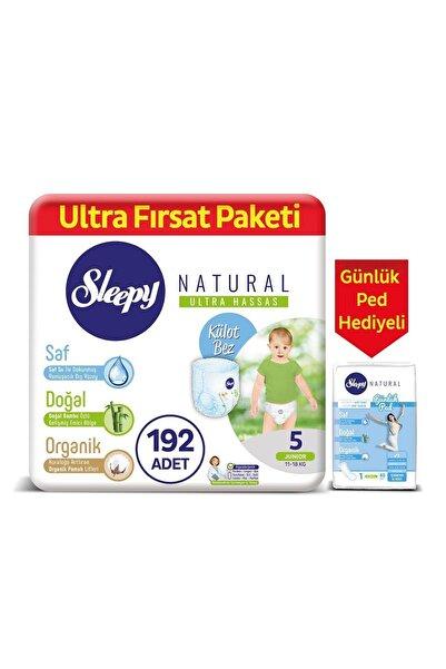 Sleepy Natural Külot Bez 5 Numara Junior 192 Adet + Natural Günlük Ped Normal 40 Adet