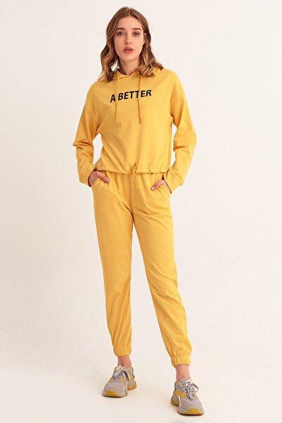 Fulla Moda Kadın Sarı A Better Baskılı Eşofman Takımı
