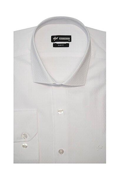 İgs Erkek Beyaz Slim Fit Klasik Gömlek