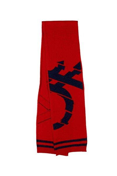 United Colors of Benetton Erkek Kırmızı Benetton Logolu Triko Atkı