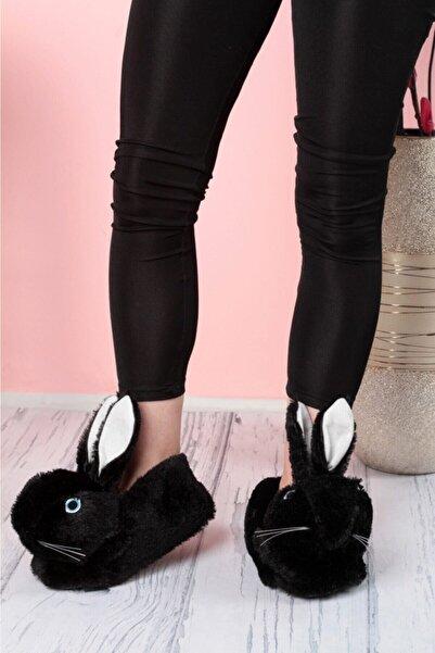 Yetkin Kadın Siyah Sevimli Tavşan Panduf