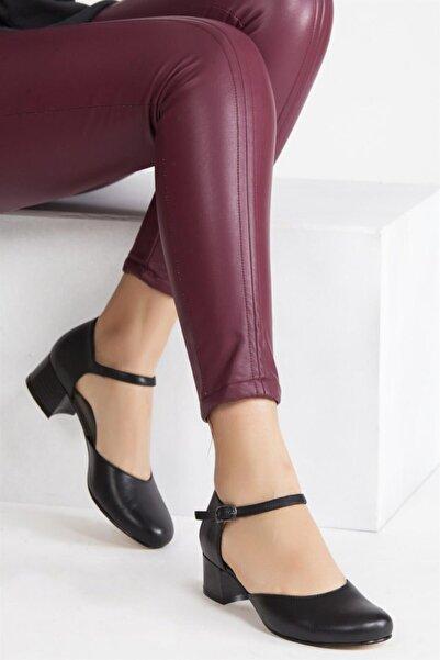 Deripabuc Hakiki Deri Siyah SİYAH Kadın Topuklu Deri Ayakkabı SHN-0136