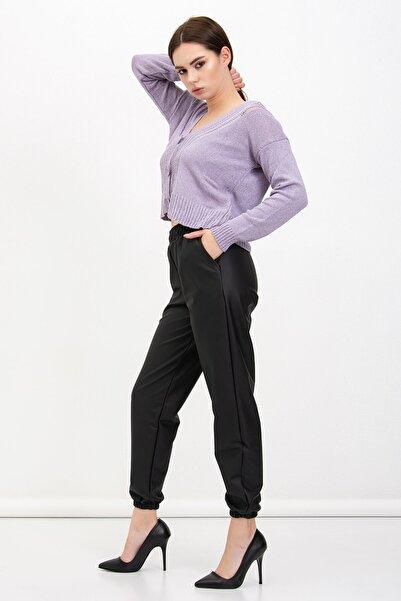 Mossta Kadın Bel Lastikli Şardonlu Deri Pantolon
