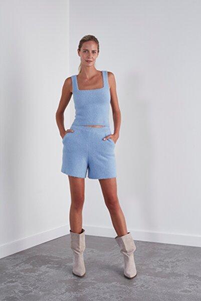 JOIN US Kadın Yumuşak Dokulu Triko Şort-açık Mavi