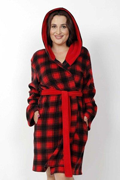 VİENETTA Kadın Kırmızı Büyük Beden Polar Kapşonlu Uzun Kol Sabahlık