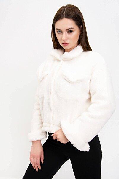 Mossta Kadın Ekru Astarlı Peluş Ceket