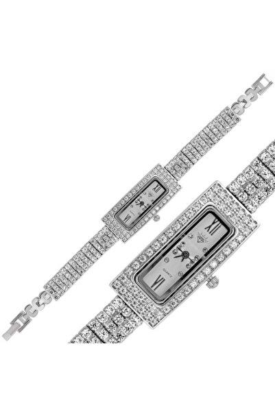 Gumush Gümüş Dikdörtgen Zirkon Taşlı Bayan Saat