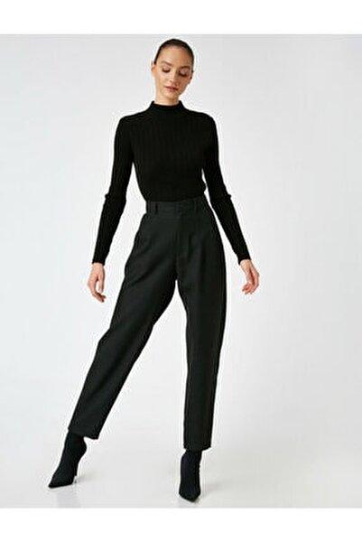 Kadın Siyah Yüksek Bel Mom Pantolon