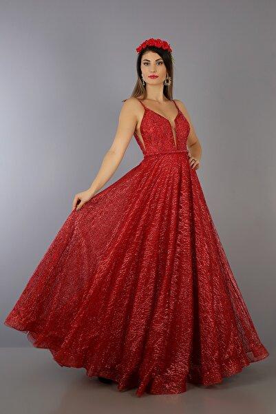 VOLAN Kadın Kırmızı Işıltılı Aplike Üzeri Kristal İşlemeli Kına Elbisesi