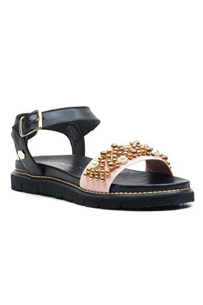 Ferre Kadın Siyah Pudra Hakiki Deri Sandalet
