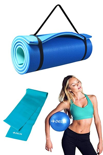 Delta 3lü Pilates Seti 10 mm  Pilates Minderi Matı, 120x15 cm Pilates Bandı, 25 cm Pilates Topu