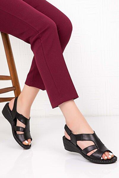 Gondol Kadın Siyah  Deri Dolgu Topuk Sandalet