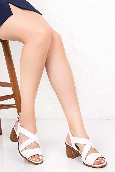 Gondol Kadın Beyaz  Deri Topuklu Sandalet