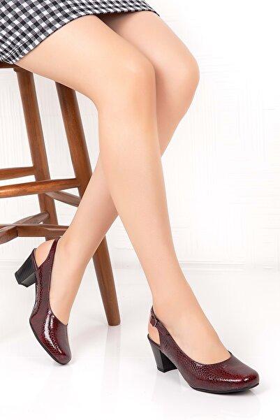 Gondol Kadın Bordo  Deri Klasik Ayakkabı