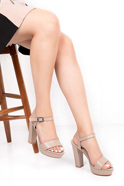 Gondol Kadın Bej Deri Platform Topuk Ayakkabı