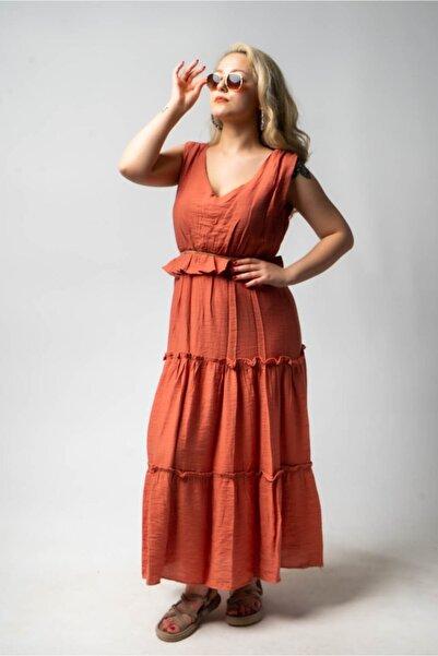 CNS Kadın Turuncu Uzun Elbise