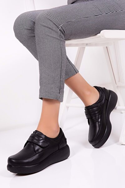 Gondol Kadın Siyah  Deri Kışlık Rahat Ayakkabı
