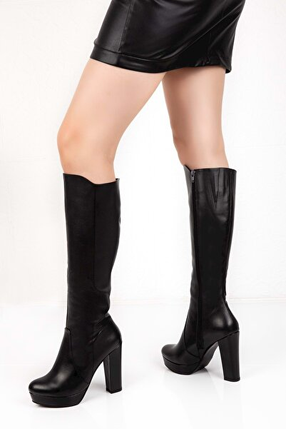 Gondol Kadın Siyah Deri Platform Dolgu Topuklu Çizme