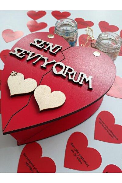 Akın Aksesuar Sevgiliye Hediye Seti Ahşap Kutuda Romantik Sevgililer Günü Doğum Günü Yıldönümü Hediyesi