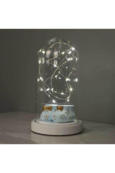 BY-LAMP Işıklı Cam Fanus Bebek Patiği Figürlü Lamba