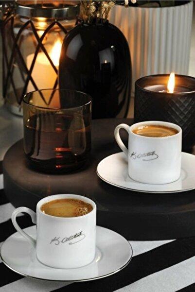 Kütahya Porselen Atatürk Imzalı Kahve Takımı Beyaz