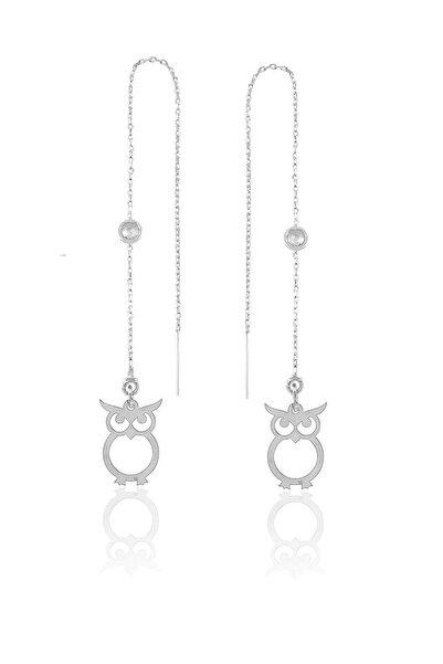Söğütlü Silver Gümüş  Taşlı Zincirli Küpe Baykuş