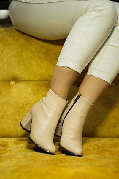 Afilli Ten Cilt Kadın Buti Kalın Topuklu Bot Fermuarlı Sıcak Astar Ince Taban