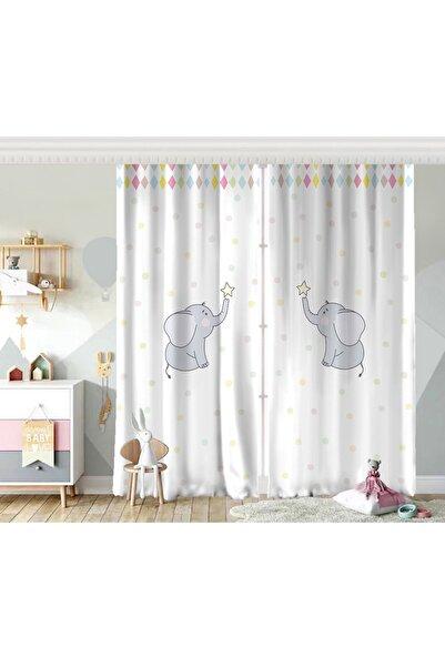 Realhomes Çift Kanat Sevimli Fil Baby Shower Tasarımlı Çocuk Odası Fon Perde