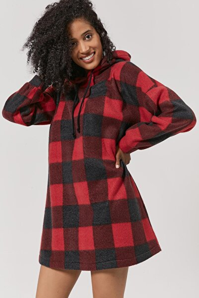Y-London Kadın Bordo Ekoseli Polar Sweatshirt Elbise Y20W110-4085