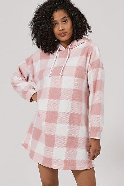Y-London Kadın Pudra Ekoseli Polar Sweatshirt Elbise Y20W110-4085