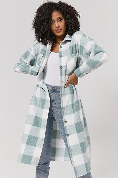 Y-London Kadın Mint Yeşili Ekoseli Uzun Oduncu Ceket Y20W110-5085