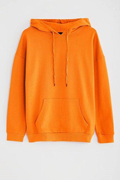 GRIMELANGE JANE Kadın Turuncu Basic Kapüşonlu Sweatshirt