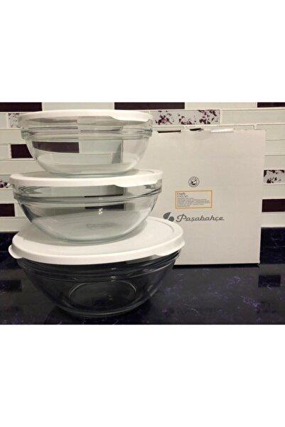 Paşabahçe Cam Chefs 3 Lü Kase Saklama Kabı Beyaz Kapak