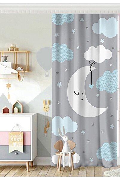 Realhomes Tek Kanat Mavi Bulut Ve Gri Ay Tasarımlı Bebek Odası Fon Perde