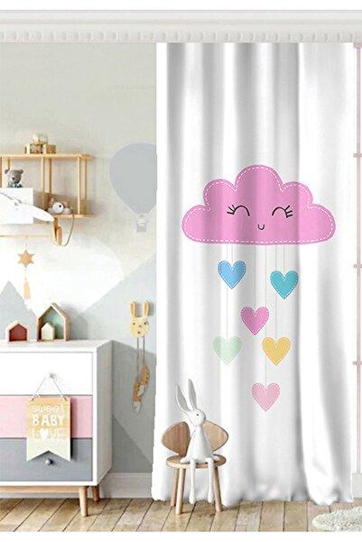Realhomes Tek Kanat Beyaz Zeminde Pembe Bulutlu Baby Shower Çocuk Odası Fon Perde