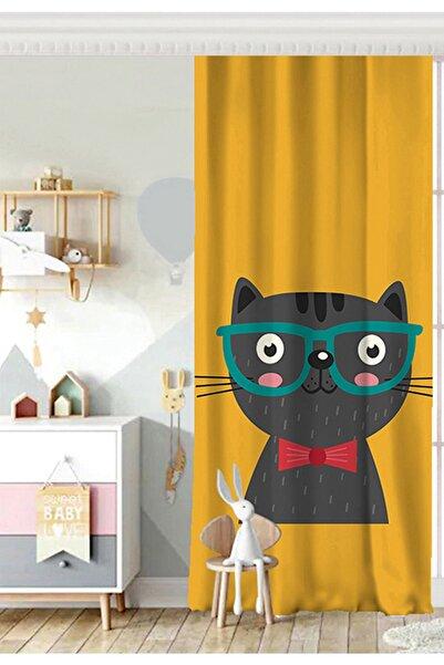Realhomes Tek Kanat Renkli Kedi Dijital Baskılı Modern Çocuk Odası Fon Perde
