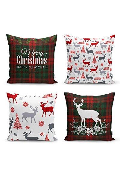 Realhomes Merry Christmas Temalı Geyik Motifli 4'lü Yastık Kırlent Kılıfı
