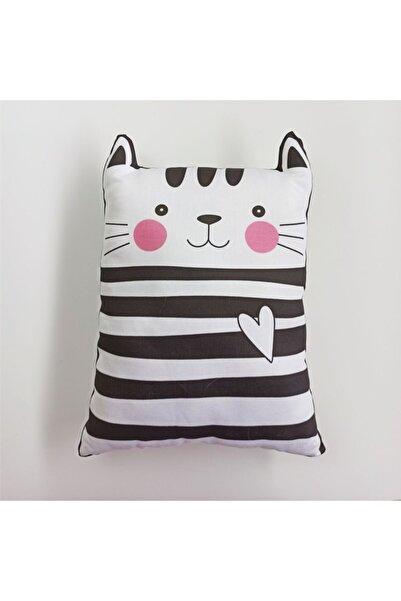 bigujoy Sevimli Siyah Beyaz Kedi Figür Yastık