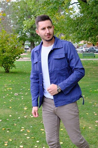 Zoom Erkek Mavi Dokulu Kot Ceket