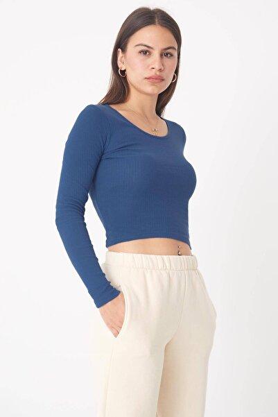 Addax Kadın İndigo Uzun Kollu Bluz B1069 - W12 Adx-0000023026