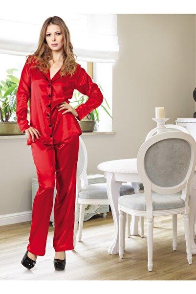 Miorre Kadın Kırmızı Uzun Kol Saten Pijama Takımı