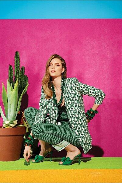 adL Kadın Yeşil Şerit Dantelli Askılı Bluz