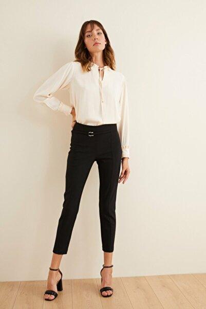 adL Kadın Siyah Beli Aksesuarlı Pantolon 15338309000001
