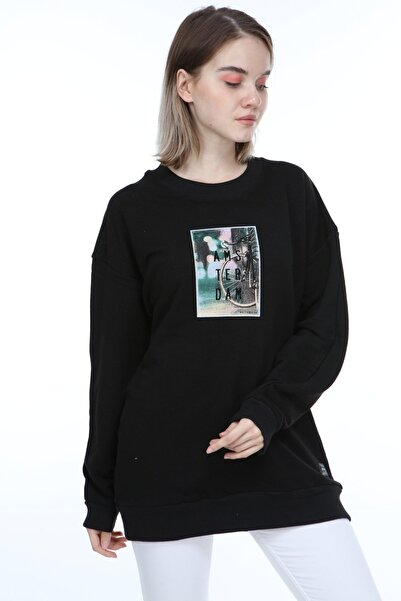 Millionaire Kadın Siyah Oversize Amsterdam Baskılı Sweatshirt
