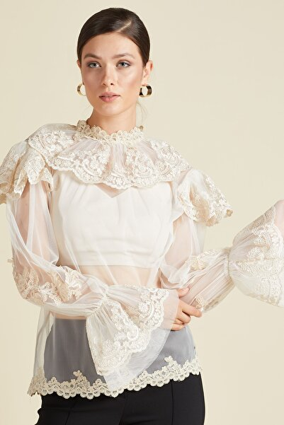 SERPİL Kadın Ekru Güpür Detaylı Tül Bluz