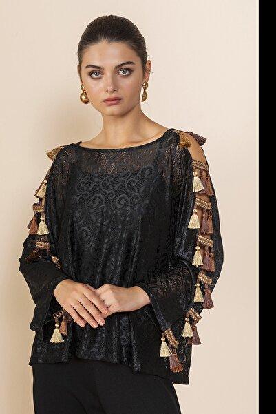 SERPİL Kadın Siyah Püskül Detaylı Bluz