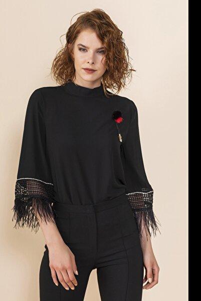 SERPİL Kadın Siyah Saçaklı Bluz